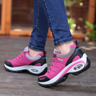 Sneakers Womens Air Cushion Athletic Running Shoes Walking Breathable Sport Lace Up Hight Platform Casual Shoes